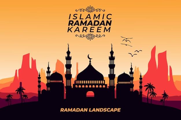 이슬람 라마단 카림 풍경 평면 모스크 디저트