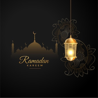 Исламский рамадан карим желает приветствия в черно-золотом стиле