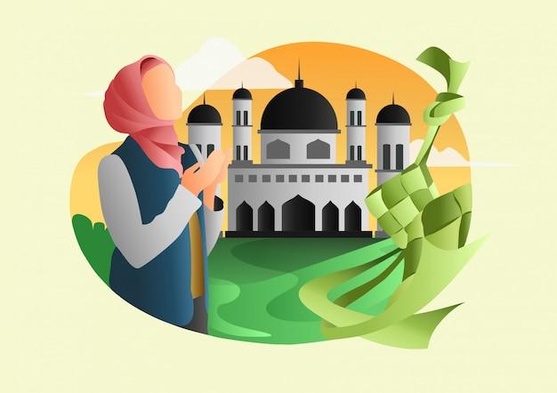 이슬람 라마단 웹 평면 그림