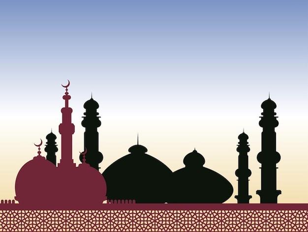 Islamic religeion arabic architecture vector