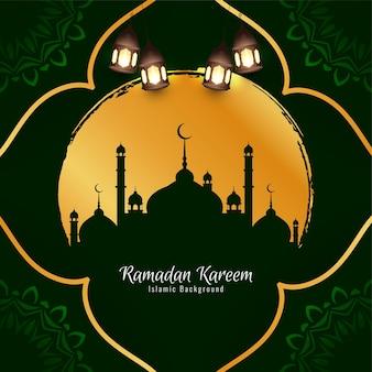 イスラム教の宗教的なラマダンカリームフェスティバルグリーティングカードベクトル