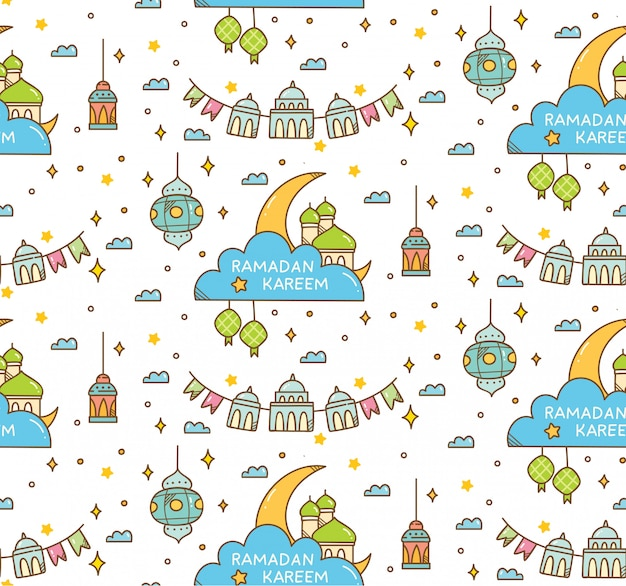 Islamic seamless pattern for eid al fitr or ramadan