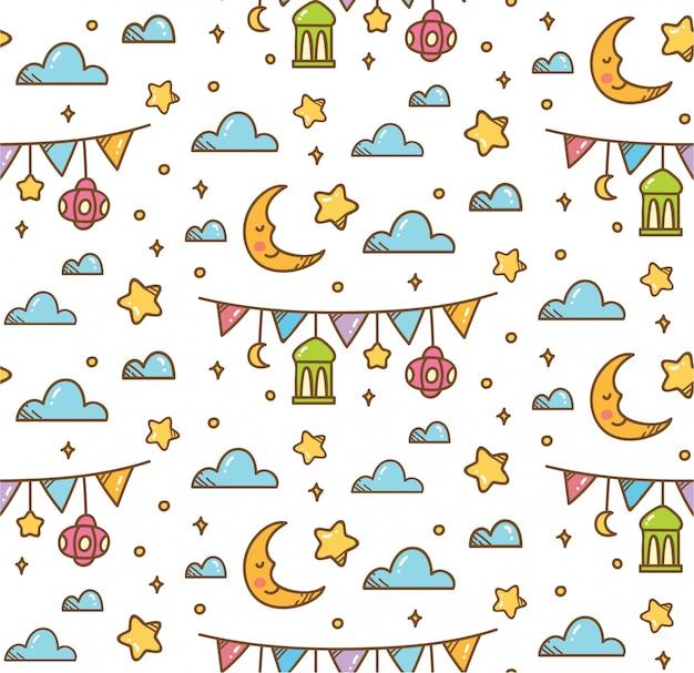 Eid al fitrまたはラマダンのためのイスラムのシームレスパターン