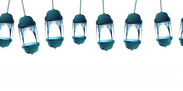 白い背景の上のラマダンカリームのイスラムのシームレスなパターン。ラマダン月ベクトルイラストの狂気の青い提灯。