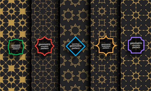 Islamic seamless patterns, set of black and gold