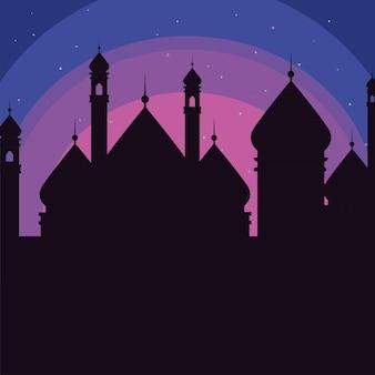 夜のイスラムのシルエットのモスク
