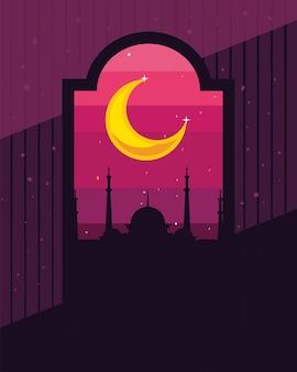 夜のイスラムシルエット寺院
