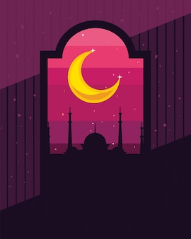 Islamic silhouette temple at night