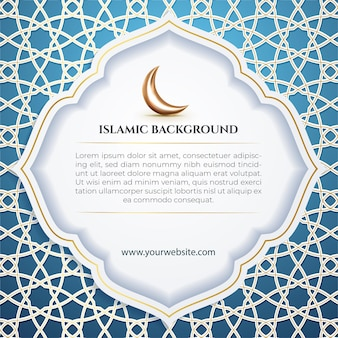Islamic social media template post white patern crescent moon and blue background