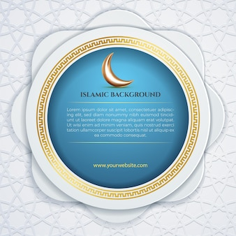 Islamic social media template post white patern crescent moon and blue circle background