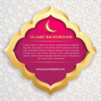 Islamic social media template post white with 3d frame gold patern and purple background