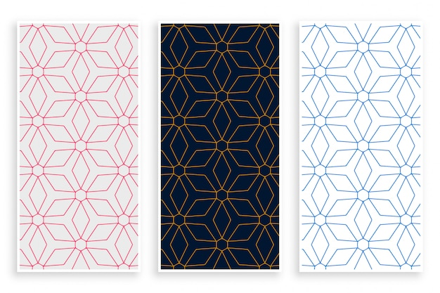 Islamic style lines pattern banner set
