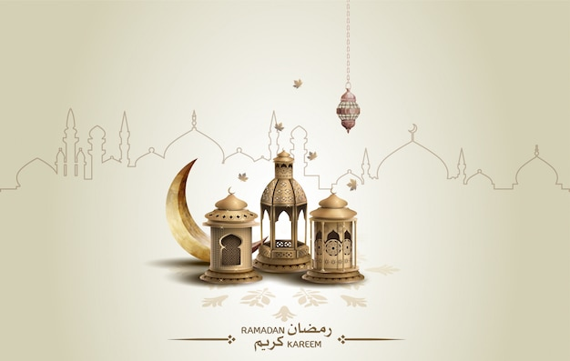 Islamic template crescent moon and lanterns