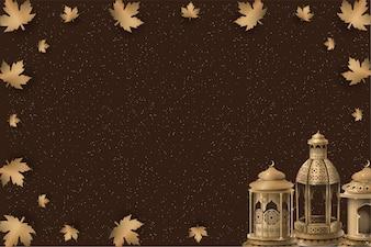 Исламский дизайн шаблона с золотыми фонарями
