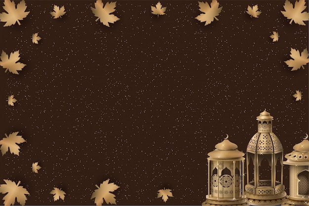 Islamic template design with gold lanterns