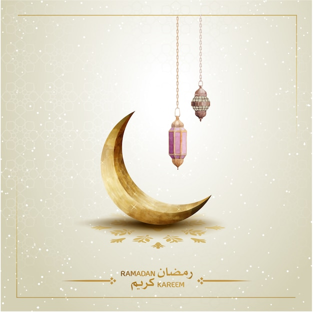Islamic template ramadan kareem with crescent moon