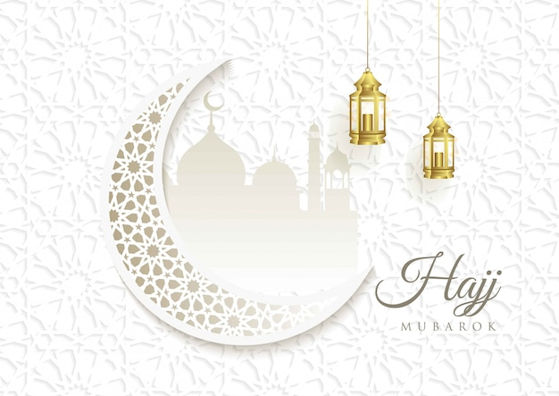 Islamic vector design hajj greeting card template