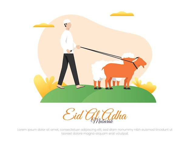 Islamic vector illustration concept for eid aladha celebration or sacrifice with a man holding a knife to slaughter sheep and goats