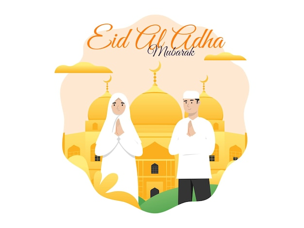 Islamic vector illustration concept for happy eid al adha or sacrifice celebration event with couple character and mosque background