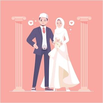 이슬람 웨딩 커플 캐릭터 일러스트