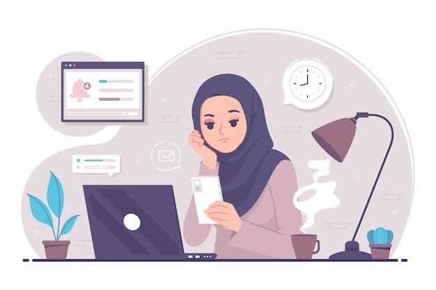 イスラムの女性は仕事に飽きて疲れています