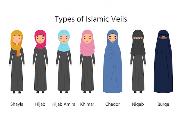 Islamic women clothes, muslim veils,  types of hijab,
