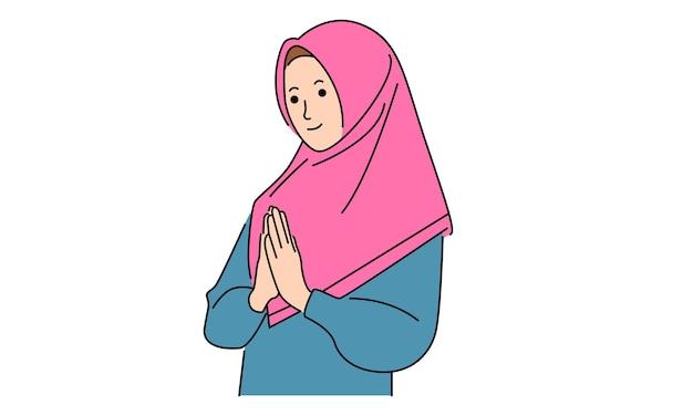 イスラムの女性はヒジャーブを着ています