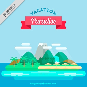 Island background in flat design