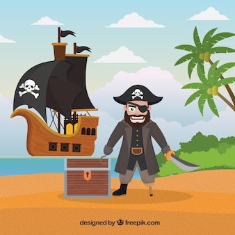 Island background with pirate and treasure