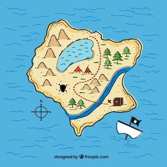 Island background with pirate treasure