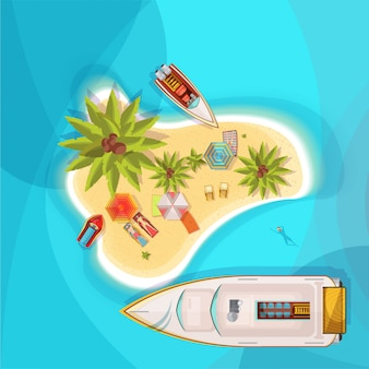 Island beach top view with blue sea, people on loungers under parasols, boats, palm trees vector illustration