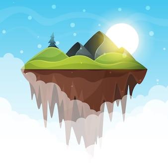 섬 만화. 산과 태양.