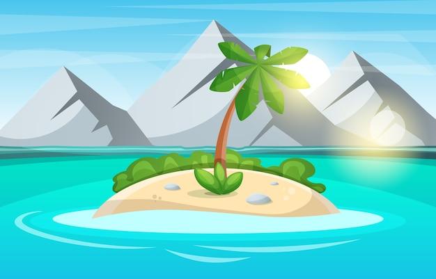 섬 만화. 바다와 태양.
