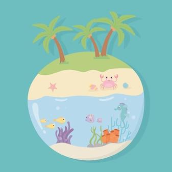 Остров краб пляж песок морской конек морская звезда улитки рыбы под морем мультфильм векторная иллюстрация