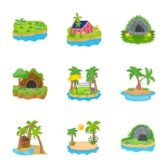 Остров иконки вектор