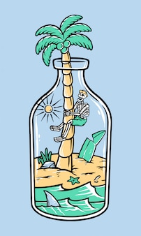 Island illustration. free concept