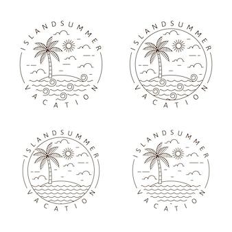 Остров монолинии иллюстрации или вектор стиля искусства линии