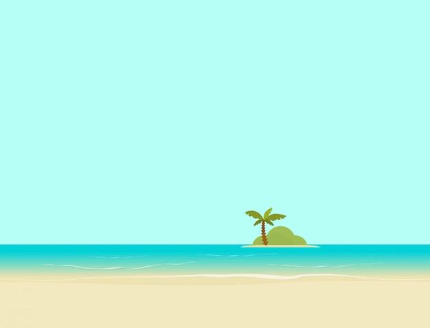 Остров в море или океан от пляжа пейзаж векторная иллюстрация