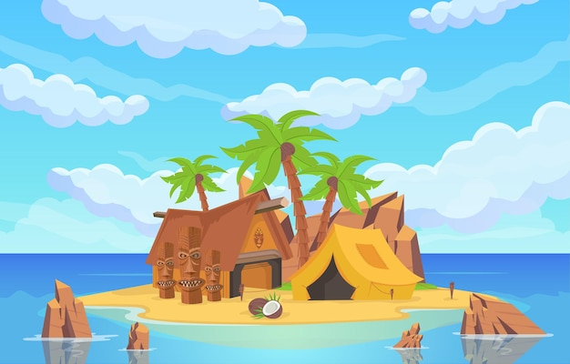 바다 위의 섬으로 동상, 텐트, 의식 가옥이 바닷물과 푸른 하늘로 둘러싸여 있습니다. 모래 해변에 야자수와 바위 산 벡터 만화 바다