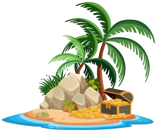 Island isolated with treasure