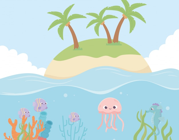 Island jellyfish fishes reef coral under the sea vector illustration