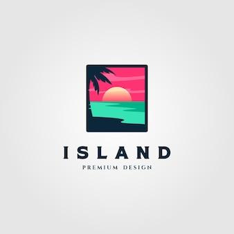 島の風景のロゴイラスト