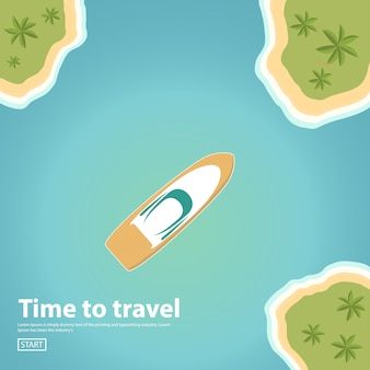 Island landscape in the sea and the ship yacht.world travel banner.summer vacation.