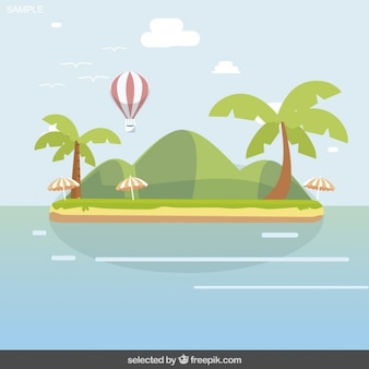 Island landscape with hot air balloon