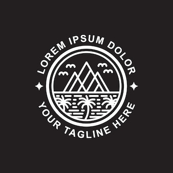 Island and mountain line art logo design