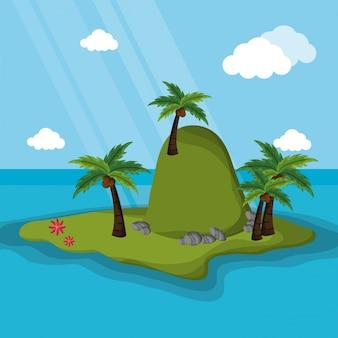 섬 산 야자 나무 햇빛