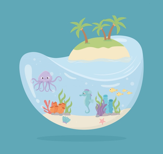 Island octopus seahorse fishes reef water shaped tank under sea cartoon vector illustration