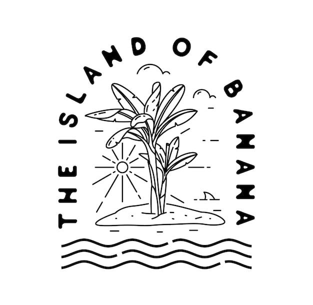 바나나 섬 로고 빈티지 모노 라인 배지