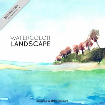 Island painted with watercolors