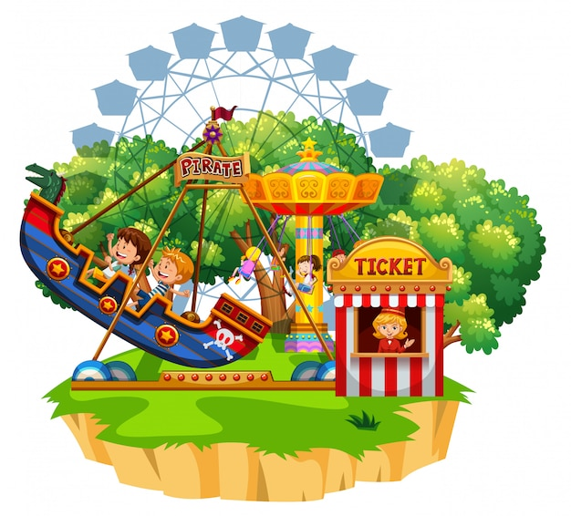 Island scene with many kids playing on circus rides